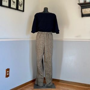 Flax pull on pants with elastic waist and pockets